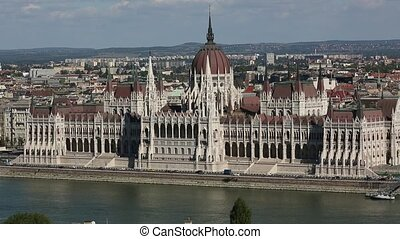 Parliament building in Budapest, Hungary on sunny day.