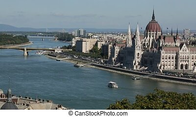 View exists of Danube river Budapest cityscape, Hungary