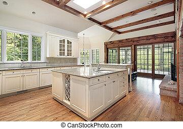 cuisine, plafond, bois, rayons
