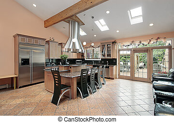 Kitchen with skylights - Large kitchen with marble island...
