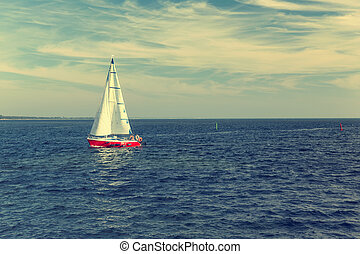 Yacht in the Baltic sea - Racing yacht in the Baltic sea on...