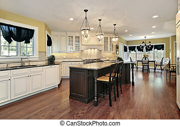 Kitchen with island and eating area