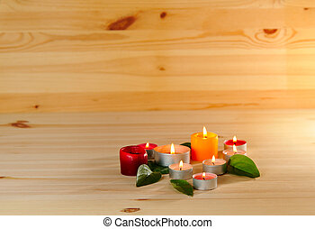 aromatherapy - colorful burn scented candles with copy space...