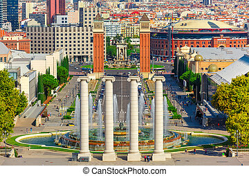 Placa Espanya in Barcelona, Catalonia, Spain - Aerial view...