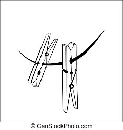Clothespins - Vector illustration - Clothespins on a white...