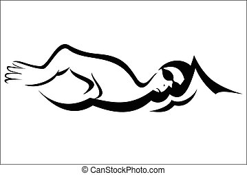 Swimmer - Vector illustration - Swimmer on a white...