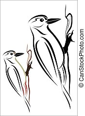Woodpecker - Vector illustration - Woodpecker on a white...