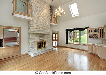 Living room with fireplace - Living room in remodeled home...
