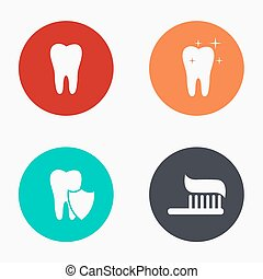 Vector modern tooth colorful icons set