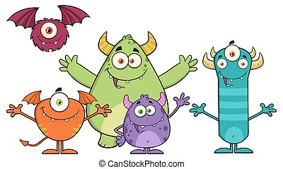 Happy Funny Monsters Cartoon Characters. Illustration...