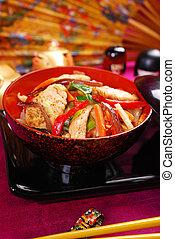 pollo, y, vegetal, conmoción, freír,