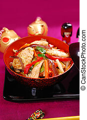vegetal, pollo, conmoción, freír