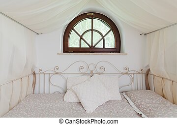 Fancy bed with iron decor - Picture of white fancy bed with...