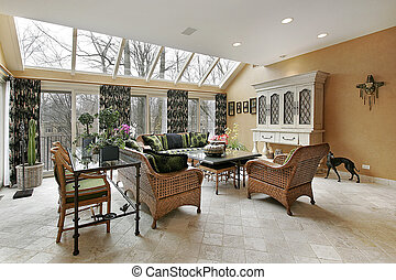 Living room in luxury home - Living room with skylights and...