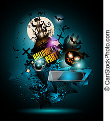 Halloween Night Event Flyer Party template with Space for...
