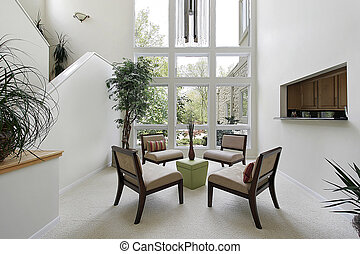 Living room with floor to ceiling windows - Living room in...