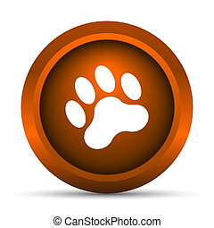 Paw print icon Internet button on white background