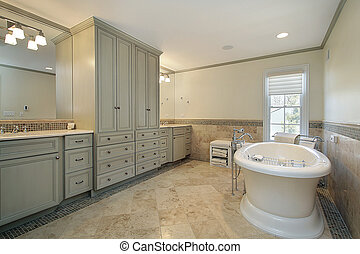 Master bath with large tub - Luxury master bath with large...