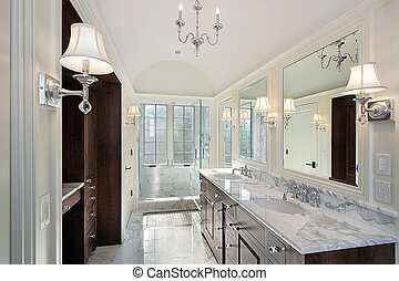 Master bath with marble shower - Master bath in new...