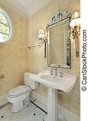 Powder room with sconces - Powder room in new construction...