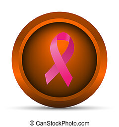 Breast cancer ribbon icon. Internet button on white...