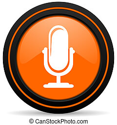 microphone orange glossy web icon on white background