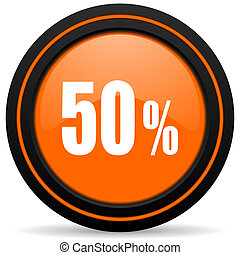 50 percent orange glossy web icon on white background