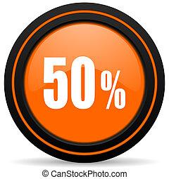50 percent orange glossy web icon on white background
