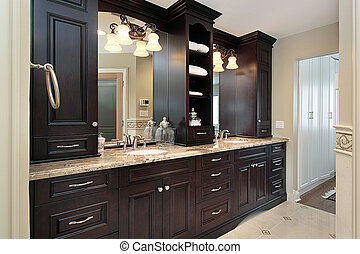 Master bath vanity - Vanity in master bath of large luxury...