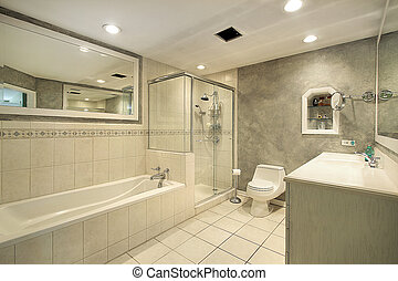 Master bath with glass shower - Master bath in luxury home...