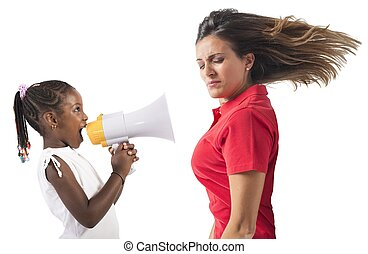 Protest of a little girl - Child screaming with megaphone to...