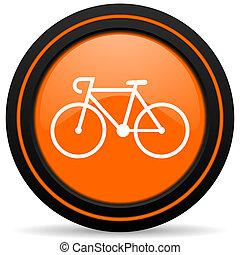 bicycle orange glossy web icon on white background