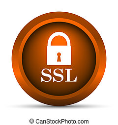 SSL icon Internet button on white background
