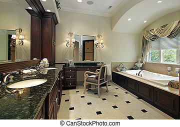 Master bath in luxury home with large tub