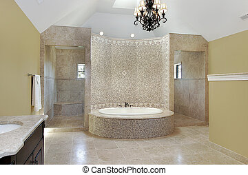 Master bath with circular bath - Master bath in new...