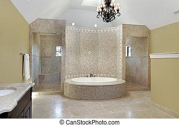 Master bath with circular bath - Master bath in new...