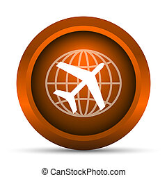 Travel icon Internet button on white background