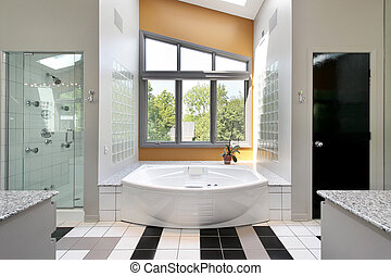 Modern upscale master bath with glass shower