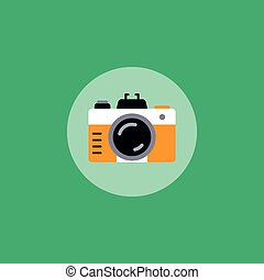 retro photo camera theme vector art illustration