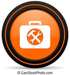 toolkit orange glossy web icon on white background