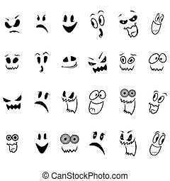 Set of twenty four ghosts faces outline with various...