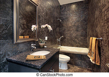 Powder room with black granite walls - Luxury powder room...