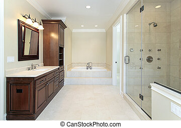 Master bath with glass shower - Master bath with tub and...