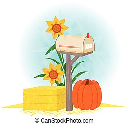 Mailbox And Haystack - Autumn clip-art of a mailbox,...