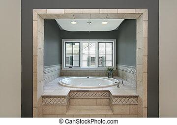 Circular tub in master bath - Large circular tub in luxury...