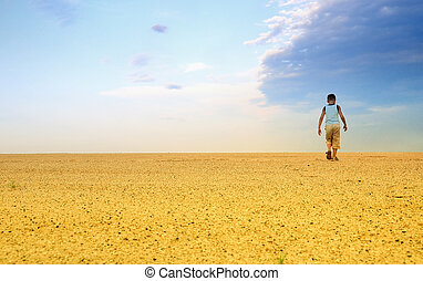 Men in sand desert - Man Hiking in the Desert