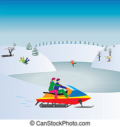 Couple on a Snowmobile Winter, Christmas vacation...