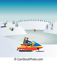 Couple on a Snowmobile. Winter, Christmas vacation....