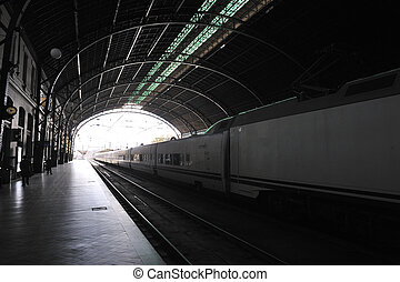 Interior of railway station to cross-light with stopped train and empty platform