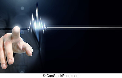 Restart your business - Male hand touch heart pulse on...